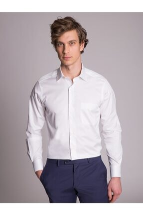 Dufy Beyaz Pamuklu Saten Klasik Erkek Gömlek - Regular Fıt