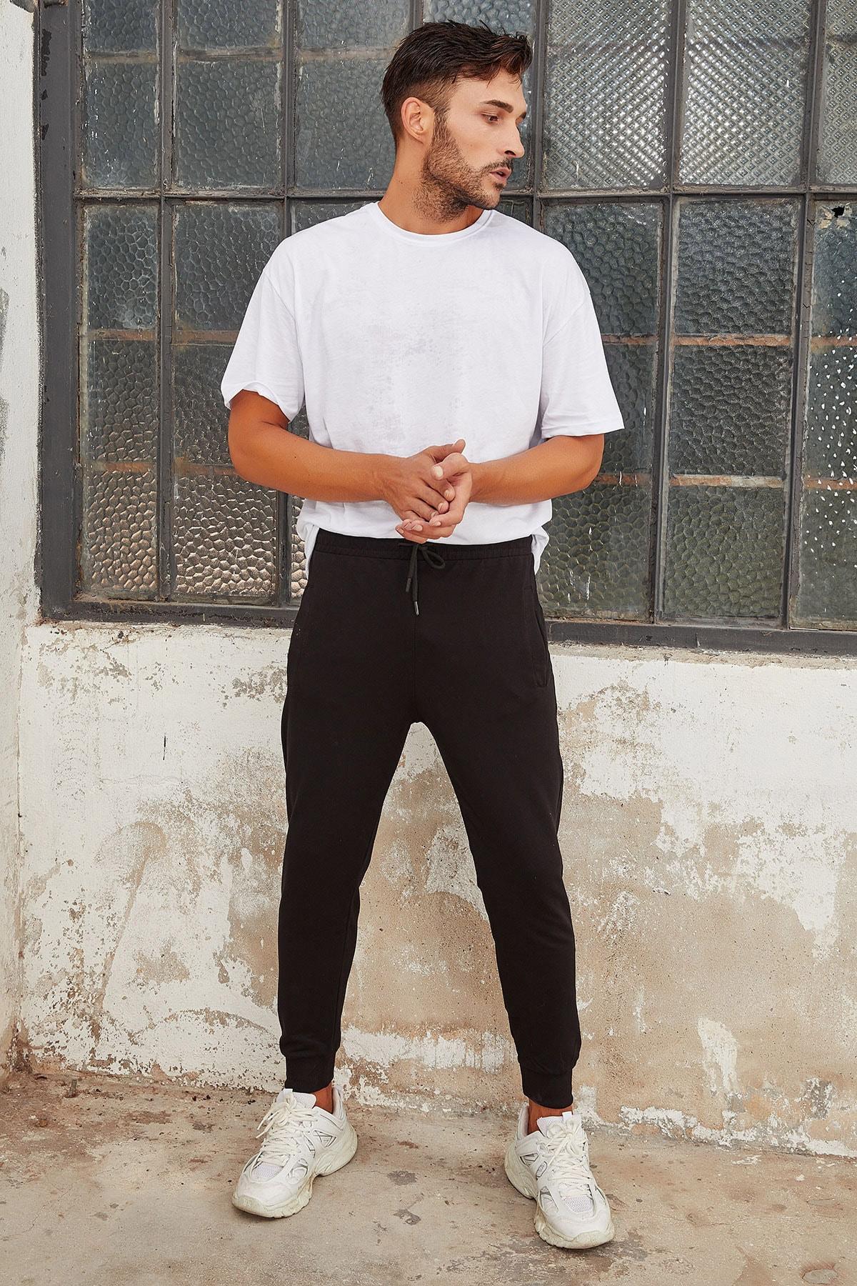 OnlyCool Erkek Siyah Dar Paça Jogger Eşofman Altı 2