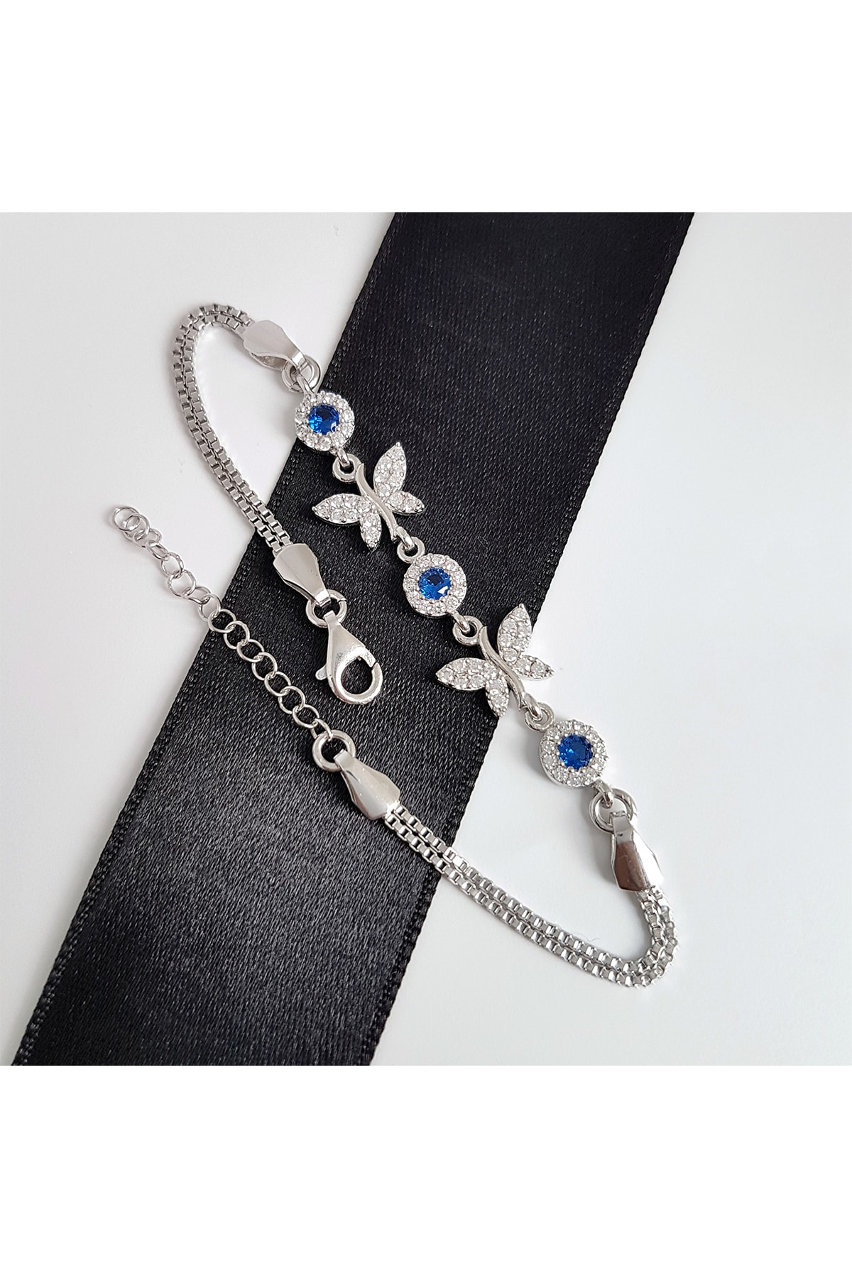 Gümüş Pazarım Safir Renkli Kelebek Gümüş Bileklik 1