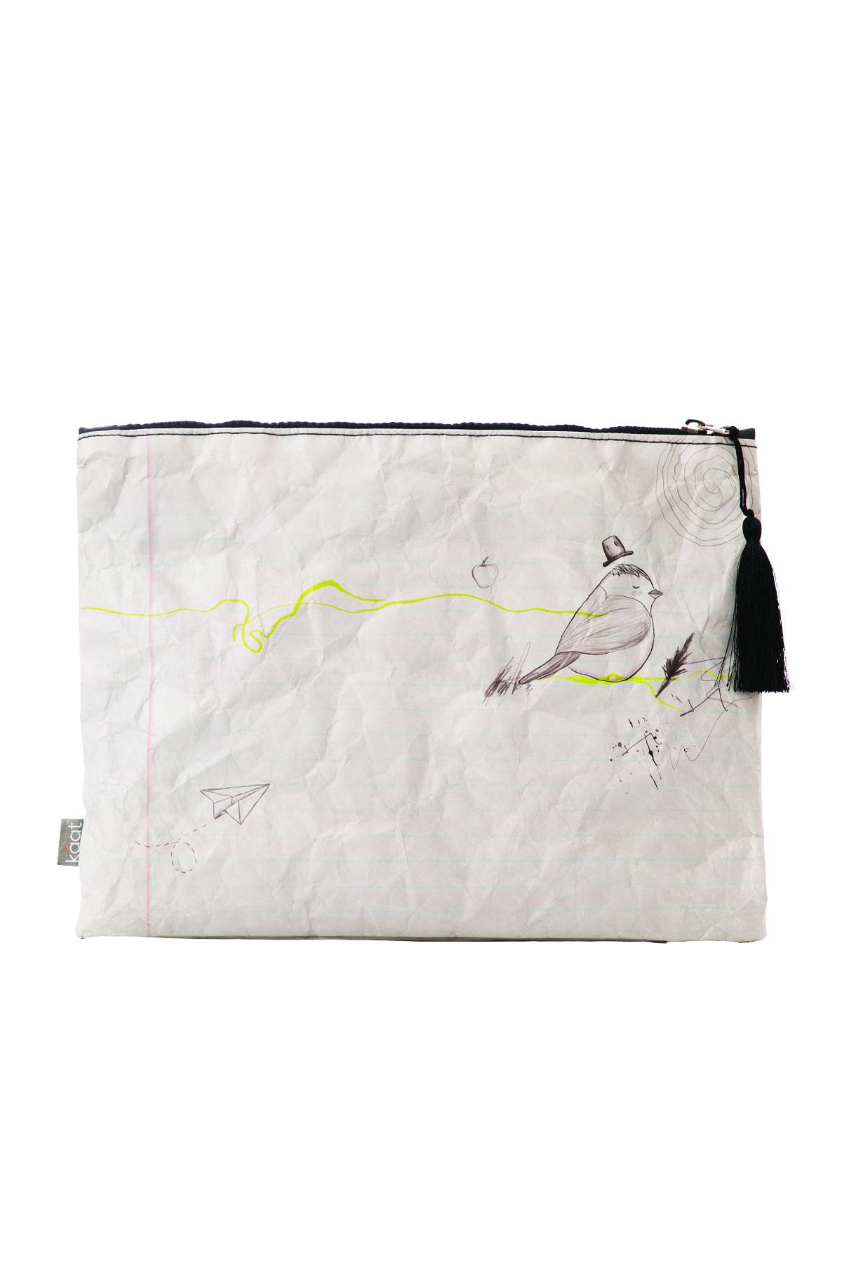 Kaat %100 Geri Dönüşümlü, Su Geçirmeyen, Yırtılmayan Kağıttan, Defter Tasarımlı, Beyaz Portföy (Clutch) 1