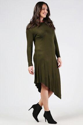 Womenice Büyük Beden Haki Uzun Kol Tunik