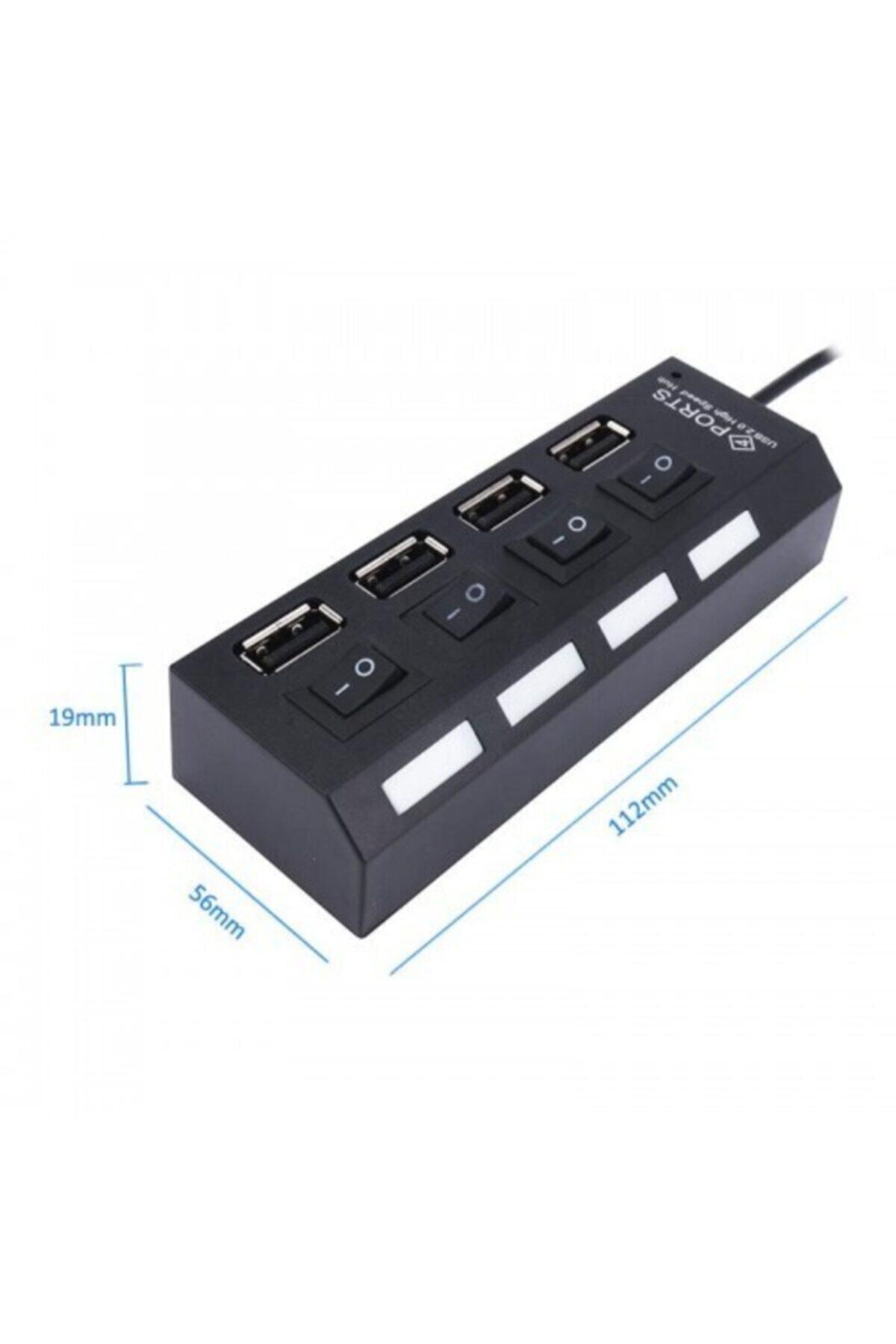 gürcantech Hub Anahtarlı Işıklı On Off Düğmeli 4 Port Çoklayıcı Aynı Anda Farklı Bileşen Bağlama Usb Çoklayıcı 2