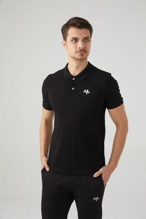 MP Erkek Polo Yaka Siyah T-shirt Tekstil 201-5005mr 100