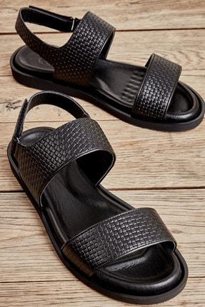 Bambi Hakiki Deri Siyah Erkek Sandalet L1801041703