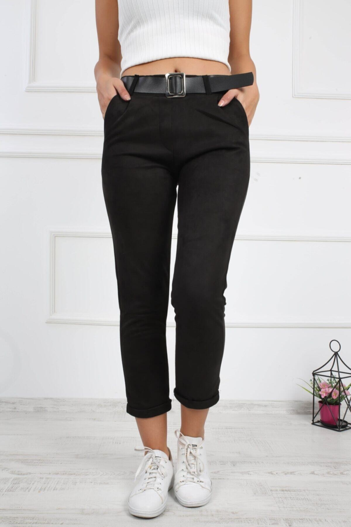 Prenses Tayt Kadın Siyah Duble Paça Süet Pantolon 424 1