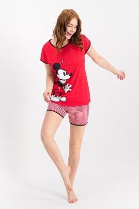DISNEY Lisanslı Mınnıe Mouse Kırmızı Kadın Şort Takım