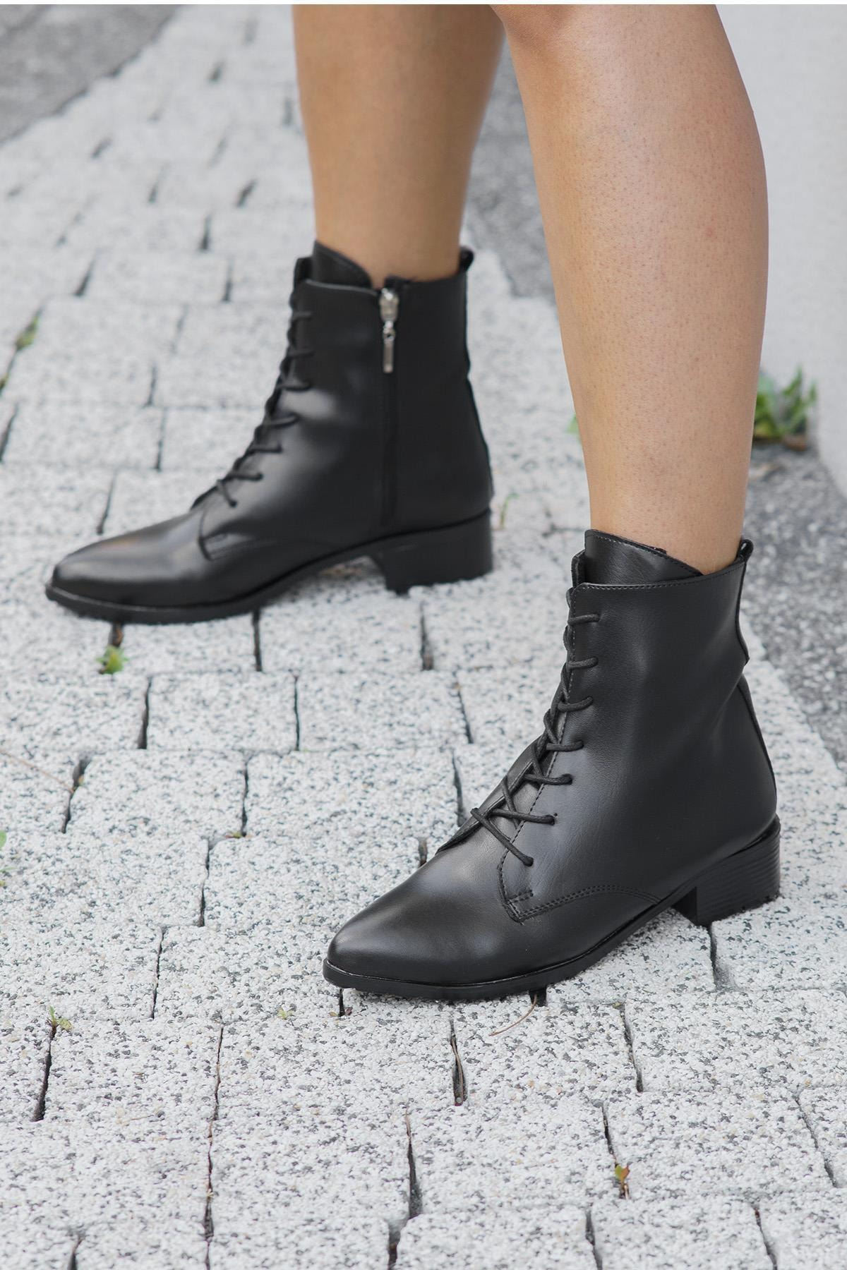 OCT Shoes Siyah Cilt Kadın Bot Ts1045 2