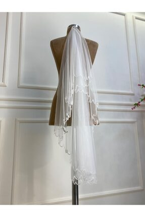 balginteks Kadın Beyaz İşlemeli Duvak