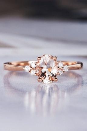 My Diamond Rose Gold Morganit Taşlı Pırlanta Yüzük 14 Ayar Altın
