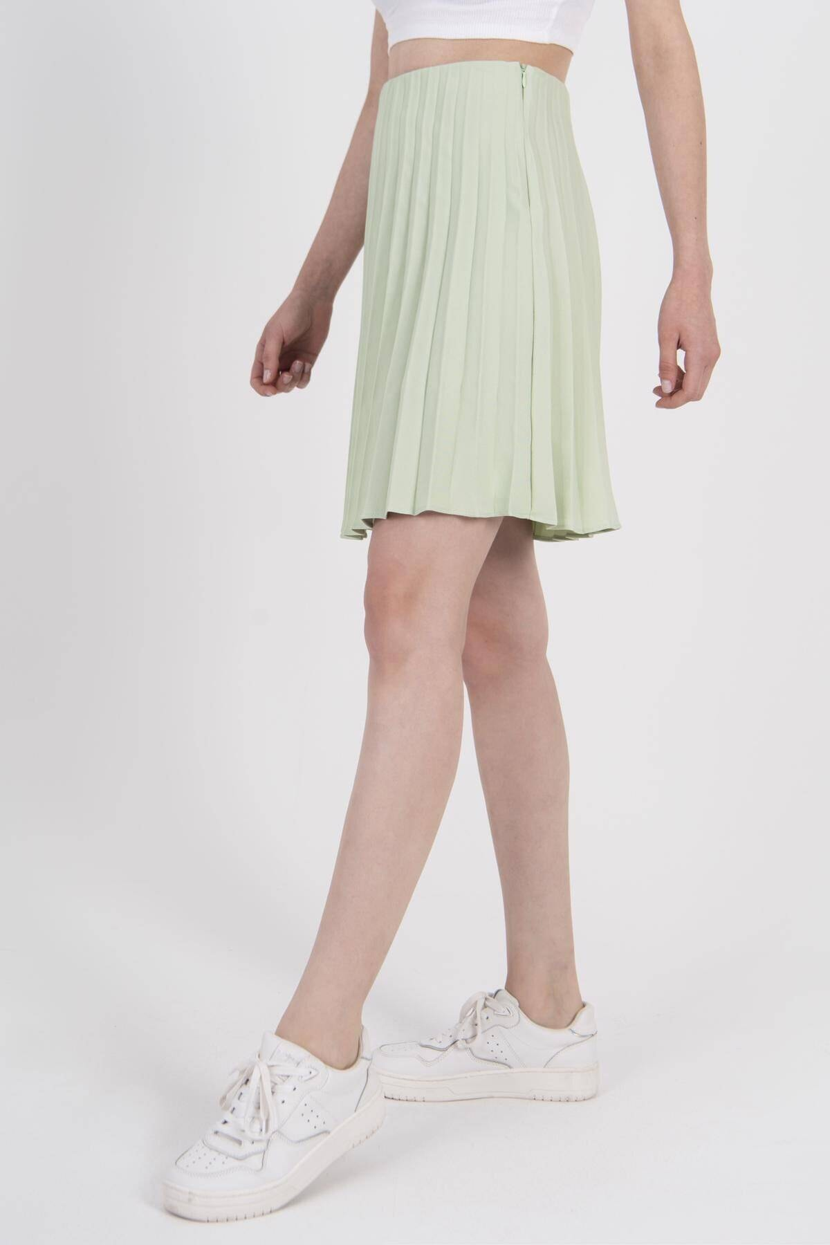 Addax Kadın Açık Mint Pileli Etek E1011 - L12 - L13 ADX-0000022635 2