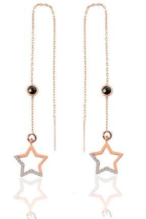 Söğütlü Silver Gümüş Oniks Ve Zirkon Taşlı Zincirli Küpe Yıldız Modeli