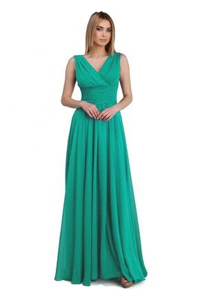 Pierre Cardin Carmen Mint Şifon V Yaka Uzun Abiye Elbise