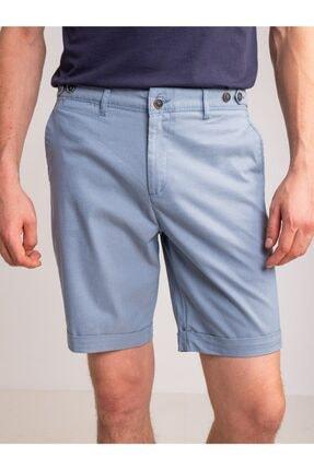 Dufy Açık Mavi Armür Pamuk Likra Karışım Erkek Short - Modern Fit