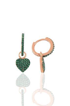 Söğütlü Silver Gümüş Yeşil Taşlı Kalp Modeli Taşlı Halka Küpe