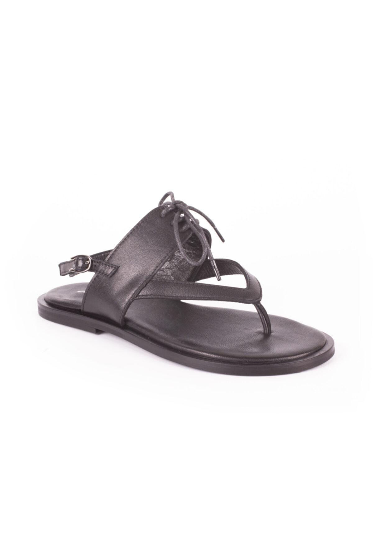DİVUM Siyah Deri Sandalet 2