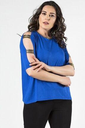 Womenice Büyük Beden Lacivert Kolları Geniş Biritli Bluz