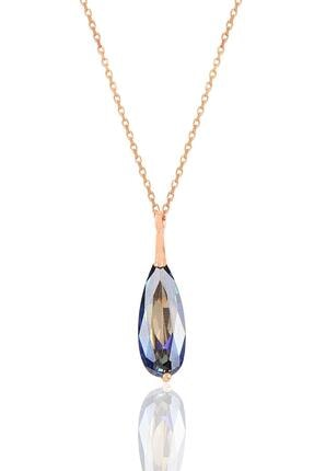 Söğütlü Silver Gümüş Rose Mavi Mistik Taşlı Damla Kolye