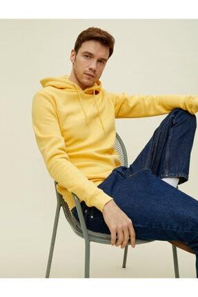 Koton Erkek Sarı Pamuklu Kapüşonlu Uzun Kollu Basic Sweatshirt