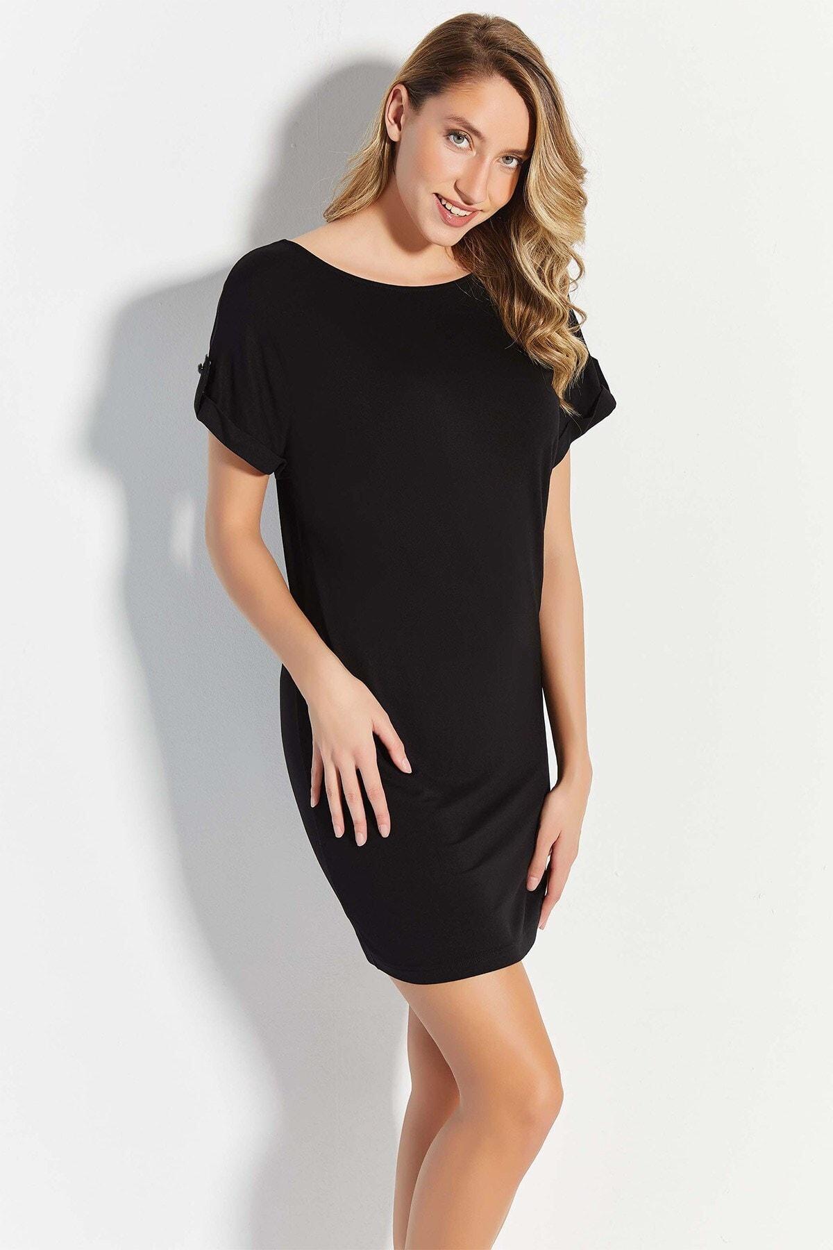 Lohusa Sepeti 20770 Siyah Geniş Yaka Sırt Detaylı Elbise 1