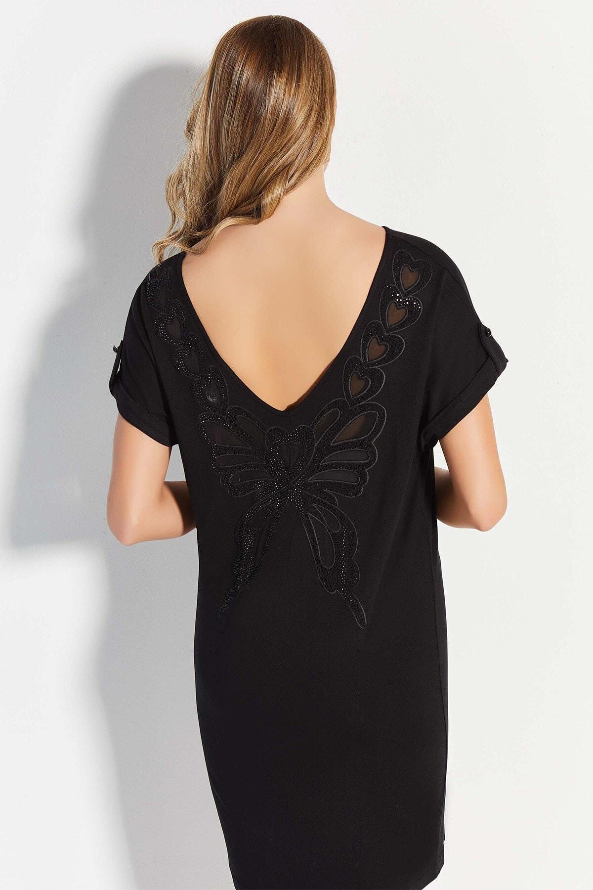 Lohusa Sepeti 20770 Siyah Geniş Yaka Sırt Detaylı Elbise 2