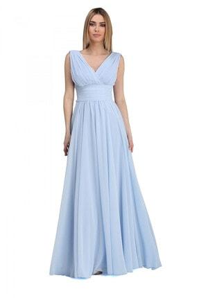 Pierre Cardin Carmen Bebe Mavi Şifon V Yaka Uzun Abiye Elbise