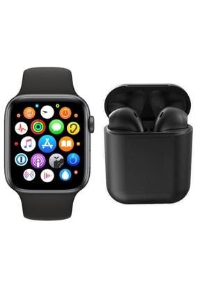 RPM BİLİŞİM Siyah T500 Akıllı Saat Smart Watch + Airpods I12 Tws Kablosuz Kulaklık İkili Kombin Siyah