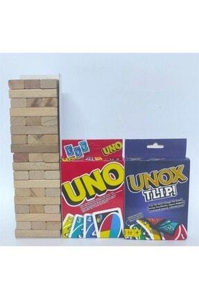 Jenga 54 Parça Büyük Boy Denge Oyunu - 108 Kartlı Uno - 112 Kartlı Unox Tlip 3'lü Aile Oyunu