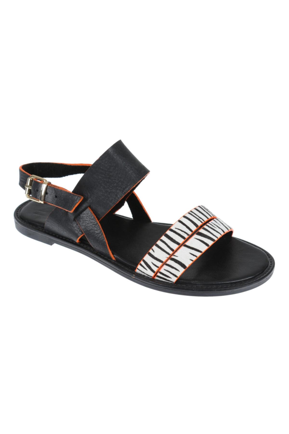 SHALİN Hakiki Deri Siyah Kadın Sandalet 1