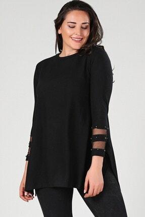 Womenice Büyük Beden Siyah Kolu Tüllü Yırtmaçlı Tunik