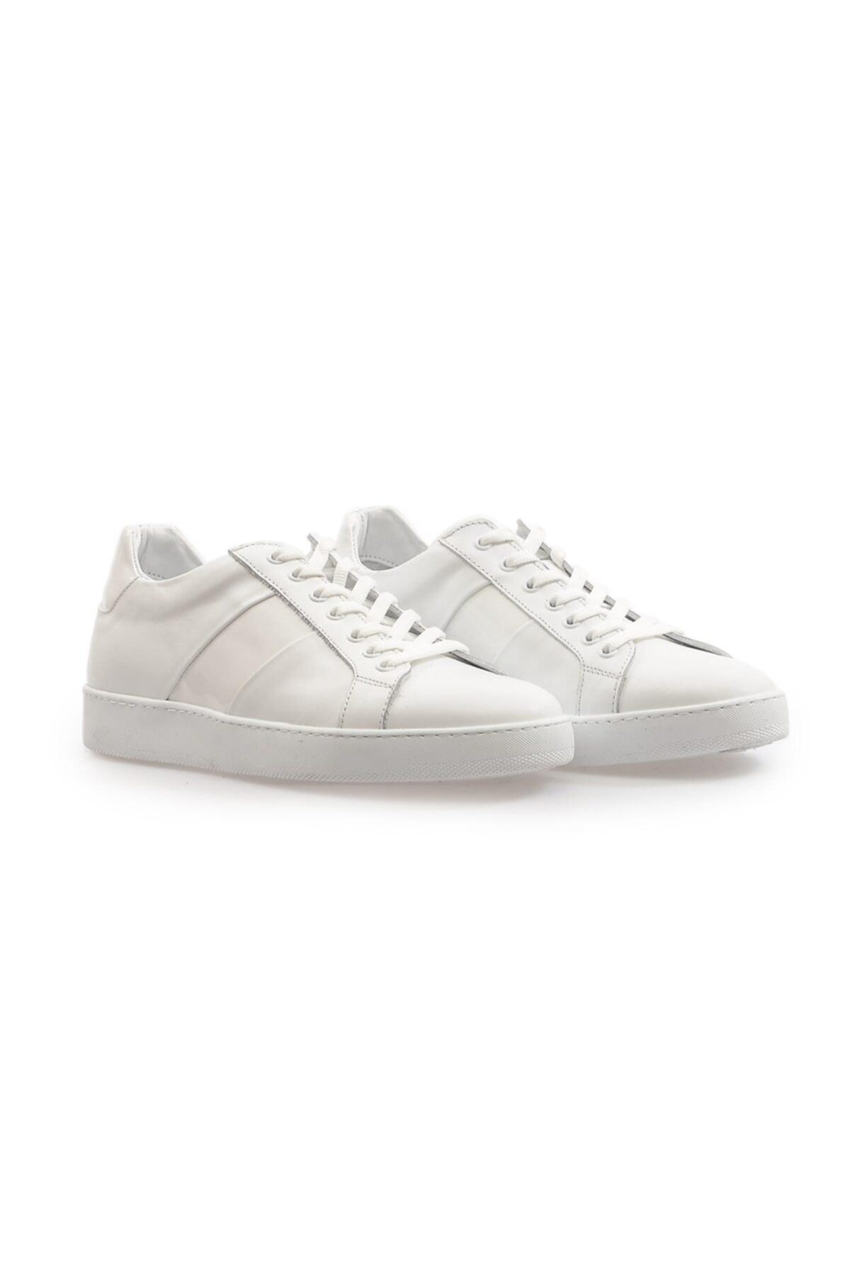 Flower Beyaz Deri Bağcıklı Erkek Sneakers 2