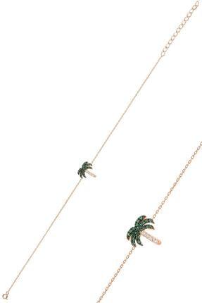 Söğütlü Silver Gümüş Rose Yeşil Taşlı Palmiye Bileklik