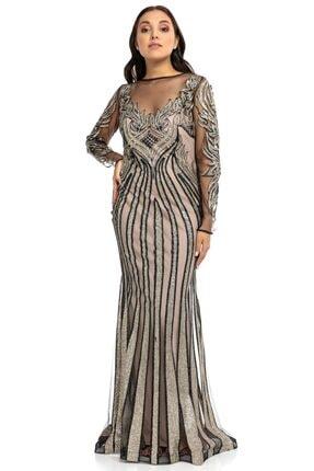 Abiye Sarayı Gold Bej Transparan Simli Uzun Abiye Elbise