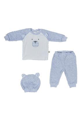 Pattaya Kids Erkek Bebek Sweatshirt Pantolon Bere Eşofman Takımı  3'lü 6-18 Ay Bbc-234
