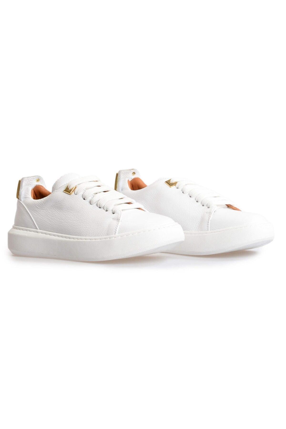 Flower Beyaz Deri Gold Toka Detaylı Sneakers 2
