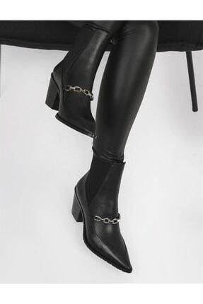 İLVİ Linda Hakiki Deri Kadın Siyah Topuklu Bot