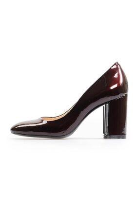 Flower Bordo Kalın Topuklu Kadın Ayakkabı