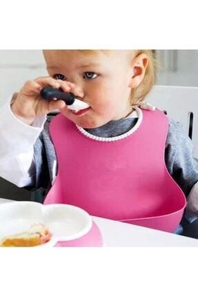 Tiktak sepette Çocuk Bebek Mama Önlüğü Dökülme Engelleyici Bükülebilir Pembe Renk- Nicola Baby