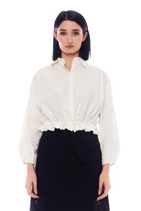 Manche Ekru Kadın Beli Bağlamalı Uzun Kol Gömlek   Mk21w163204