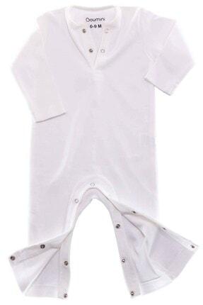 Boumini Bebek Uzun Kollu Çıtçıtlı Tulum Desensiz Beyaz