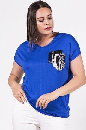 Womenice Büyük Beden Mavi Cebi Leopar Desenli Bluz