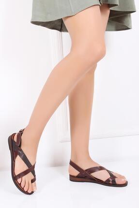 Deripabuc Hakiki Deri Kahve X6 Kadın Deri Sandalet DP-0074