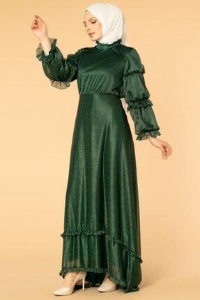 Moda Ebva Fırfır Detay Kuyruklu Tesettür Abiye-0620 Zümrüt Yeşili