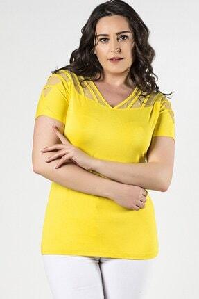 Womenice Büyük Beden Sarı Omuzları Tüllü Biyeli V Yaka Bluz