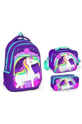 Yaygan Çanta Kız Çocuk Mor Yaygan Kids Unicorn Baskılı Mor Ilkokul Ve Ortaokul Çanta Seti
