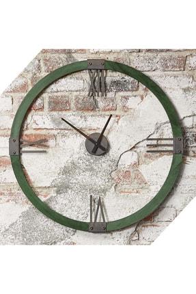bluecape Doğal Masif 70cm Orman Yeşili Ağaç Antik Metal Roma Rakamlı Duvar Saati