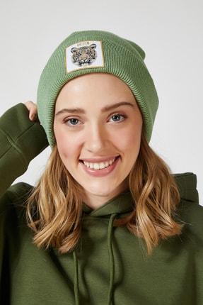 Happiness İst. Kadın Çağla Yeşili Kaplan Aksesuarlı Likralı Bere PD00012