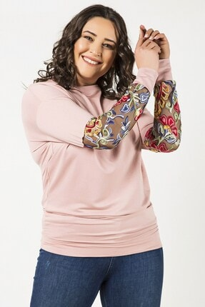 Womenice Pudra Kol Ucu Renkli Çiçekli Bluz