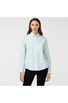 Lacoste Kadın Çizgili Açık Yeşil Gömlek