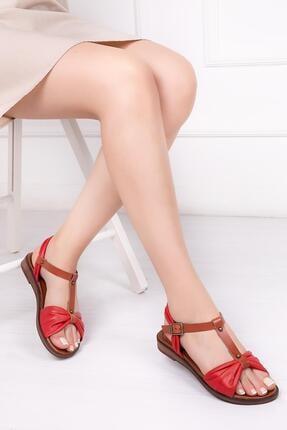 Deripabuc Hakiki Deri Kırmızı Kadın Deri Sandalet Dp-0087