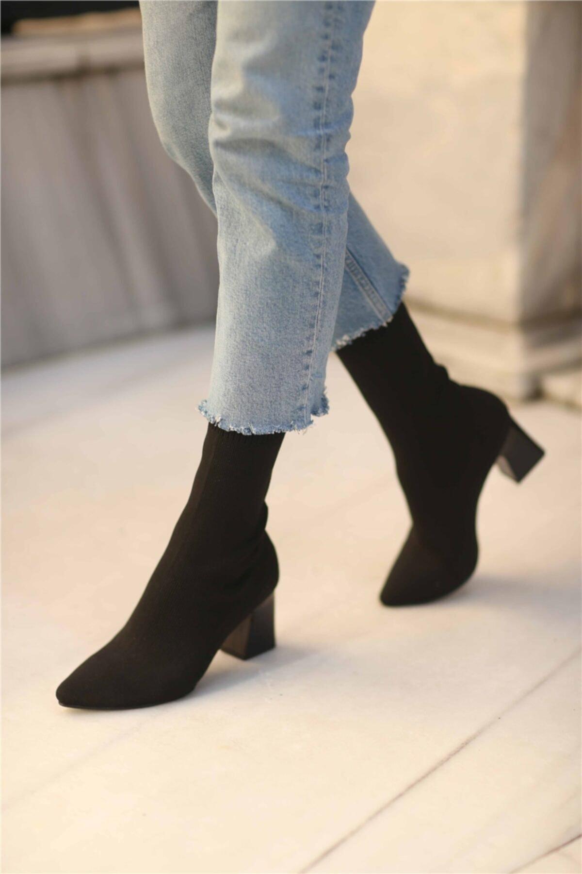 Cömert Ayakkabı Lesilla Kadın Streç Topuklu Bot Siyah 2